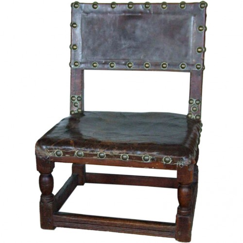 17th c. English Child's Chair in Leather with Brass Studwork