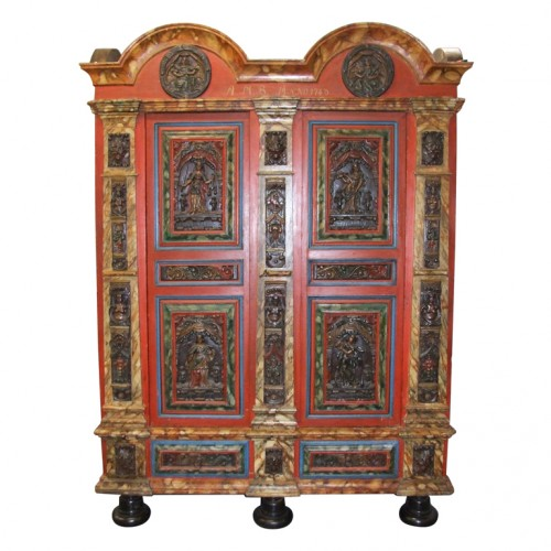 18th Century Danish Painted and Carved Baroque Armoire