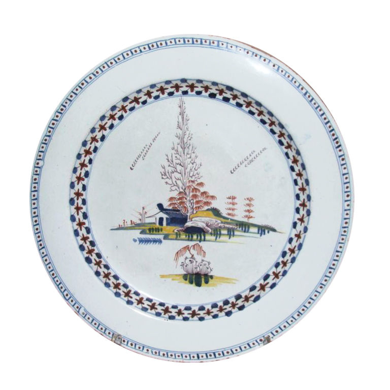 18th Century English Polychrome Delft Charger