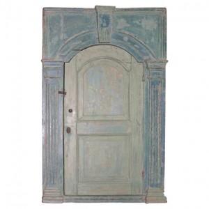 18th c. English Blue-Painted Corner Cupboard