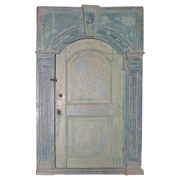 18th c. English Blue-Painted Corner Cupboard