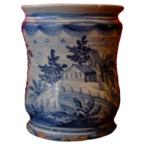18th c. Italian Blue and White Tin Glazed Apothecary Jar