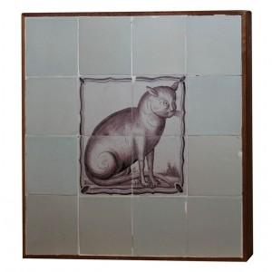 18th century Delft Tile Cat