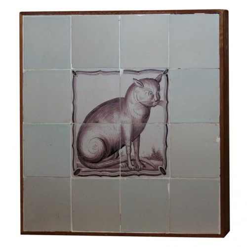 18th century Delft Tile Cat
