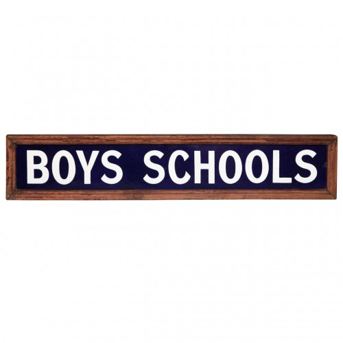 "1920's English Enameled ""Boys Schools"" Sign"