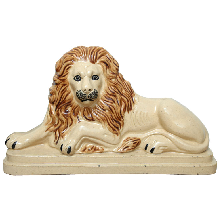 19th Century Glazed Earthenware Lion