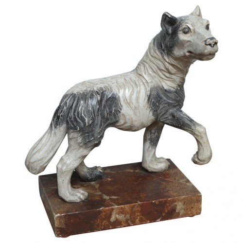 19th Century Italian Carved Wooden Wolf