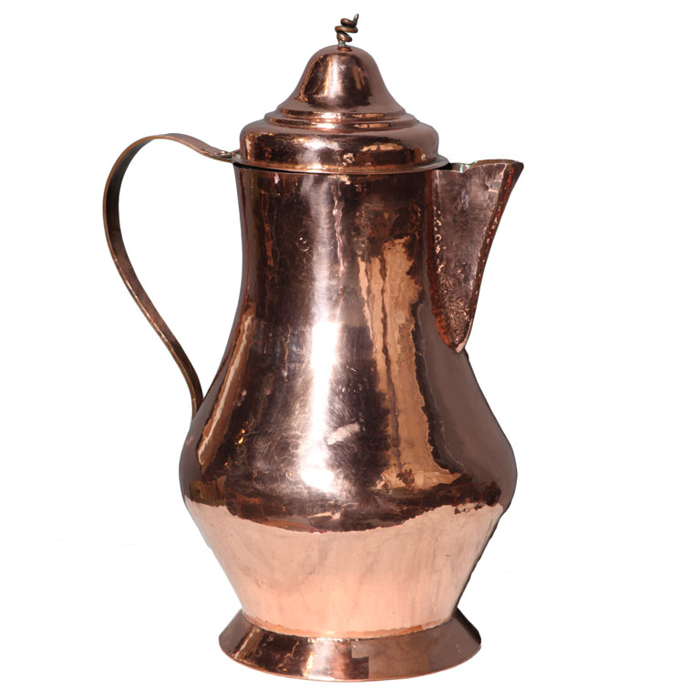 19th c. Dutch Overscale Coffee Pot of Polished Copper