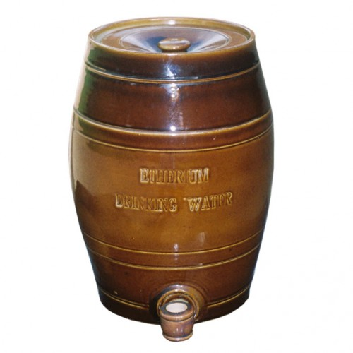 19th c. English Drinking Water Barrel now as Lamp