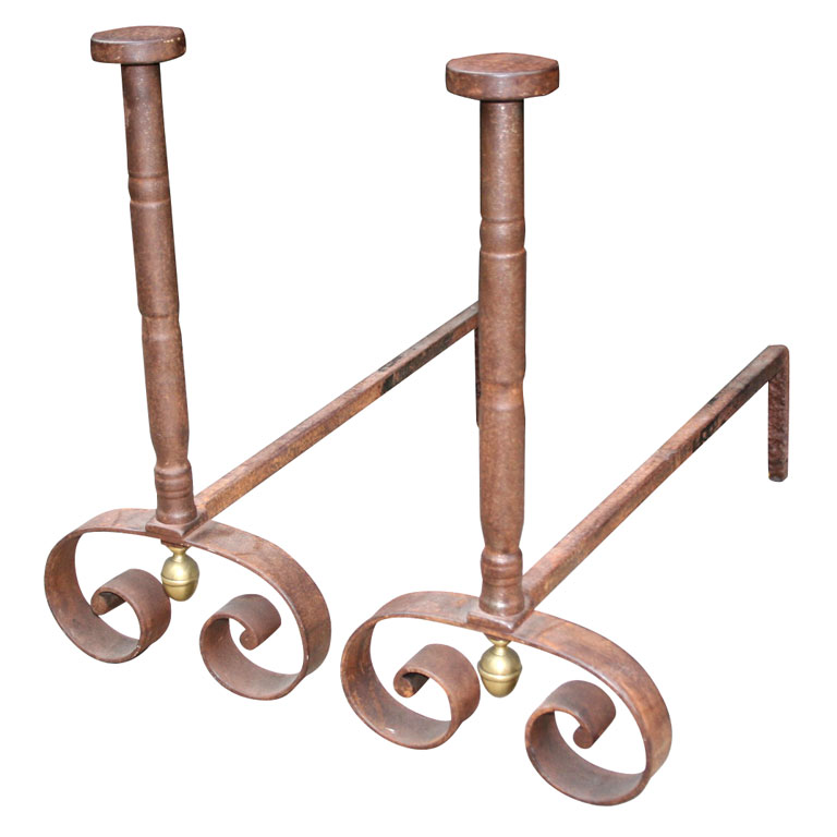 A Pair of Boldly Executed 19th c. French Steel Andirons