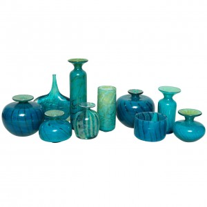 Collection of Blue and Green Studio Glass Vases