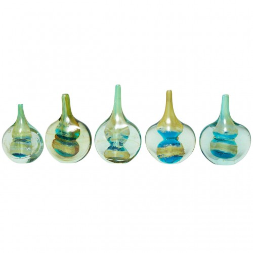 Collection of Five Studio Glass Fish or Lollipop Vases