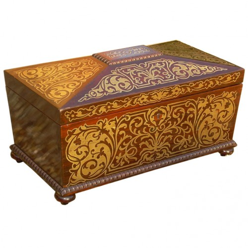 Early 19th c. English Rosewood and  Boulle Tea Caddy