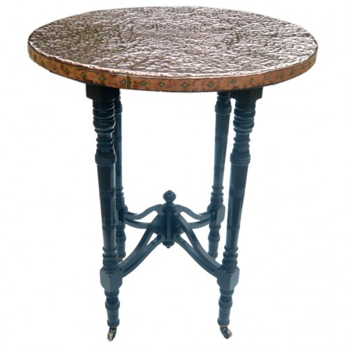 English Aesthetic Ebonized Table with Hammered Copper Top