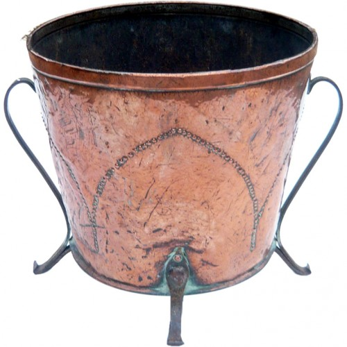 English Copper and Iron Studded Arts & Crafts Bucket