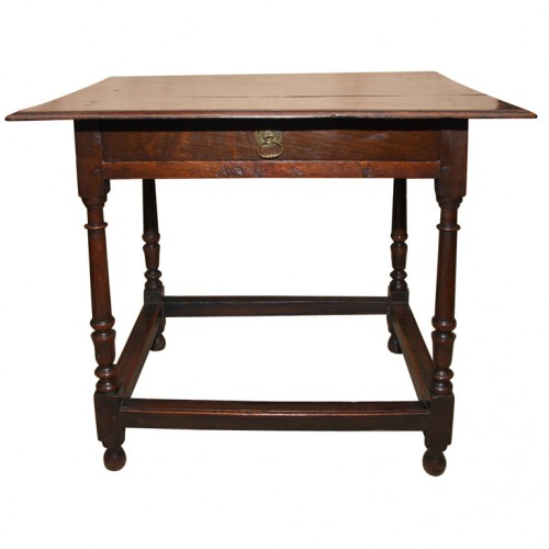 English Oak and Fruitwood Stretcher Base Table