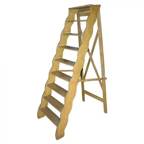 English Painted Scalloped Library Ladder