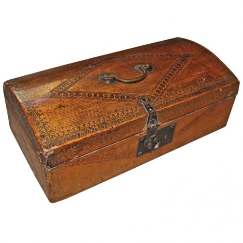 English Tooled Leather Document Box