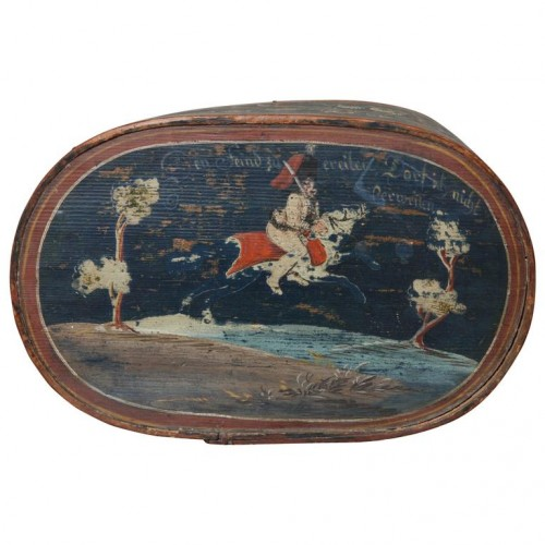 Finely Decorated Scandinavian Oval Pantry Box