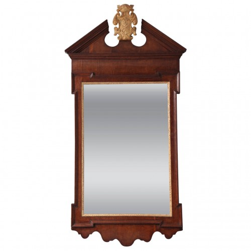 George II Plum Pudding Mahogany and Parcel-Gilt Mirror