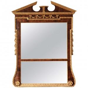 Georgian Walnut and Parcel Gilt Overmantel Mirror