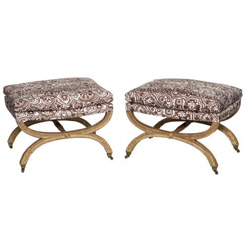 """Important Pair of Period """"X"""" Frame Stools by Jean-Baptiste Lelarge"""