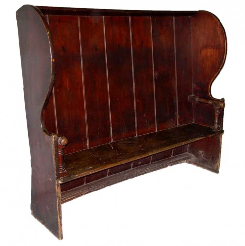 Impressive Early 19th c. Welsh Barrel-Back Settle