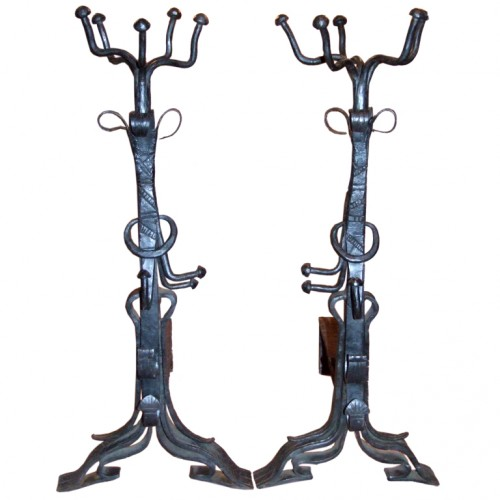 Impressive Pair of Brutalist Wrought Iron Andirons