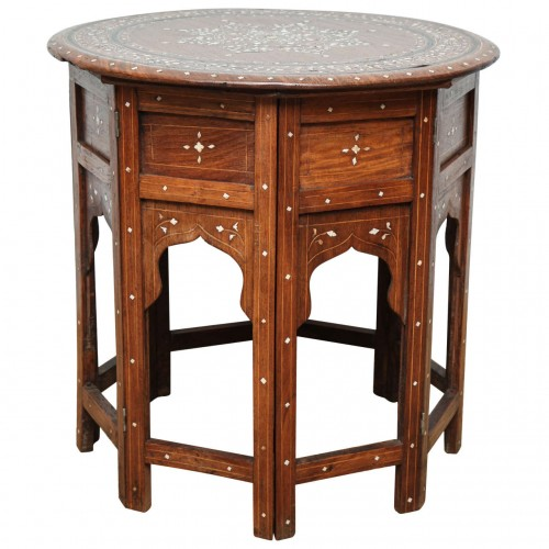 Indian Bone Inlaid Circular Folding Table