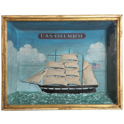 Late 19th Century Naive Sailing Vessel Diorama