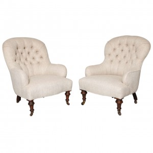 Matched Pair of English Club Chairs