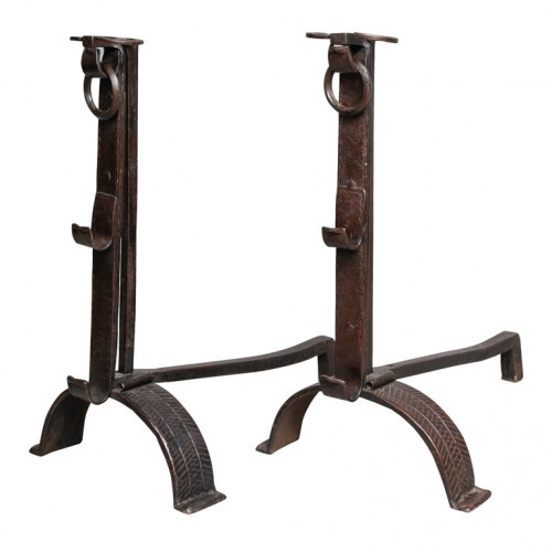 Monumental Pair of 18th c. Blacksmith-made Ram's Head Andirons