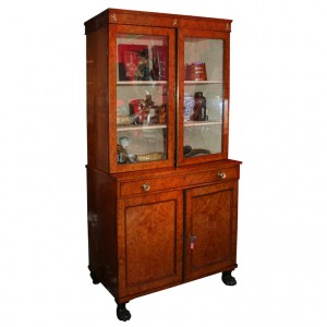 Neoclassical Burlwood Bookcase Cabinet