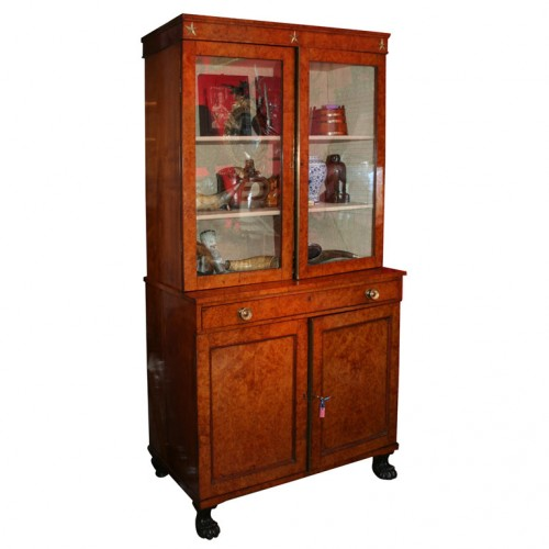 Neoclassical Burlwood Bookcase Cabinet