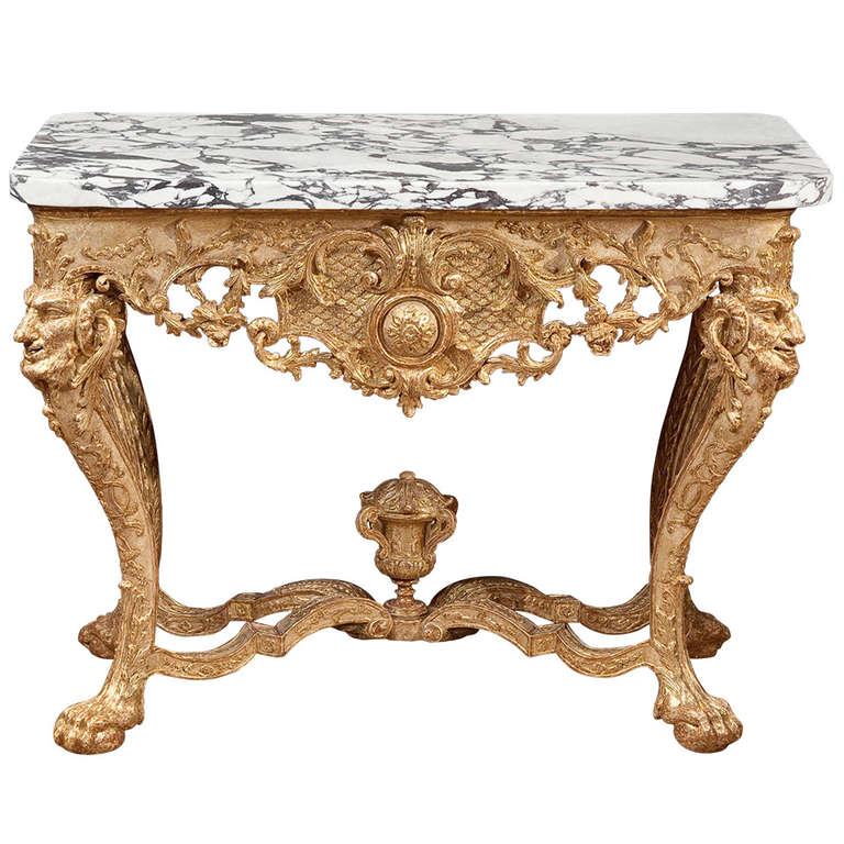 Northern European Baroque Giltwood Console Table