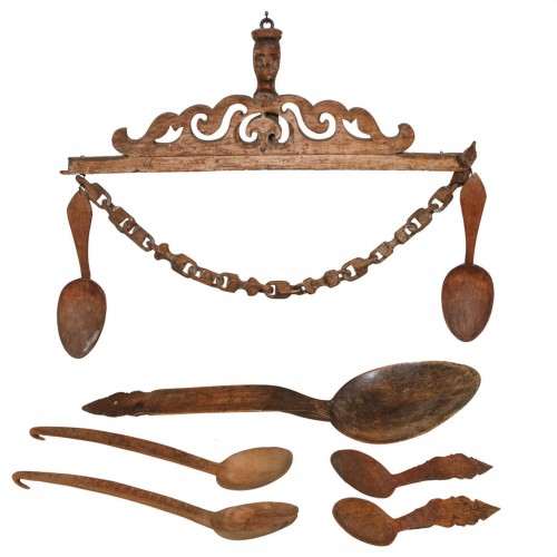 Norwegian Folk Art Spoon Rack and Spoon Collection
