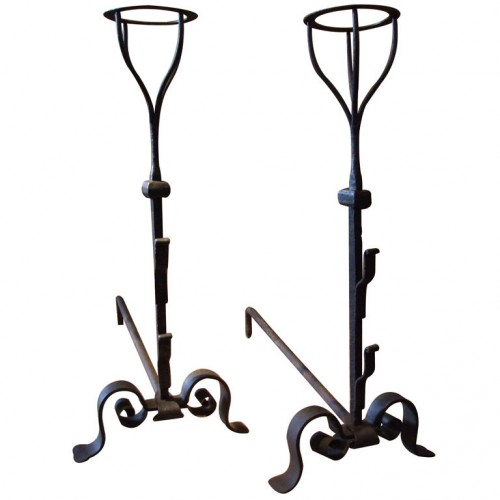 Pair of 18th Century Rustic Basket Top Andirons