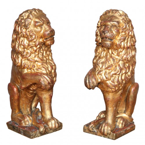 Pair of 19th Century Italian Carved and Gilt Lions