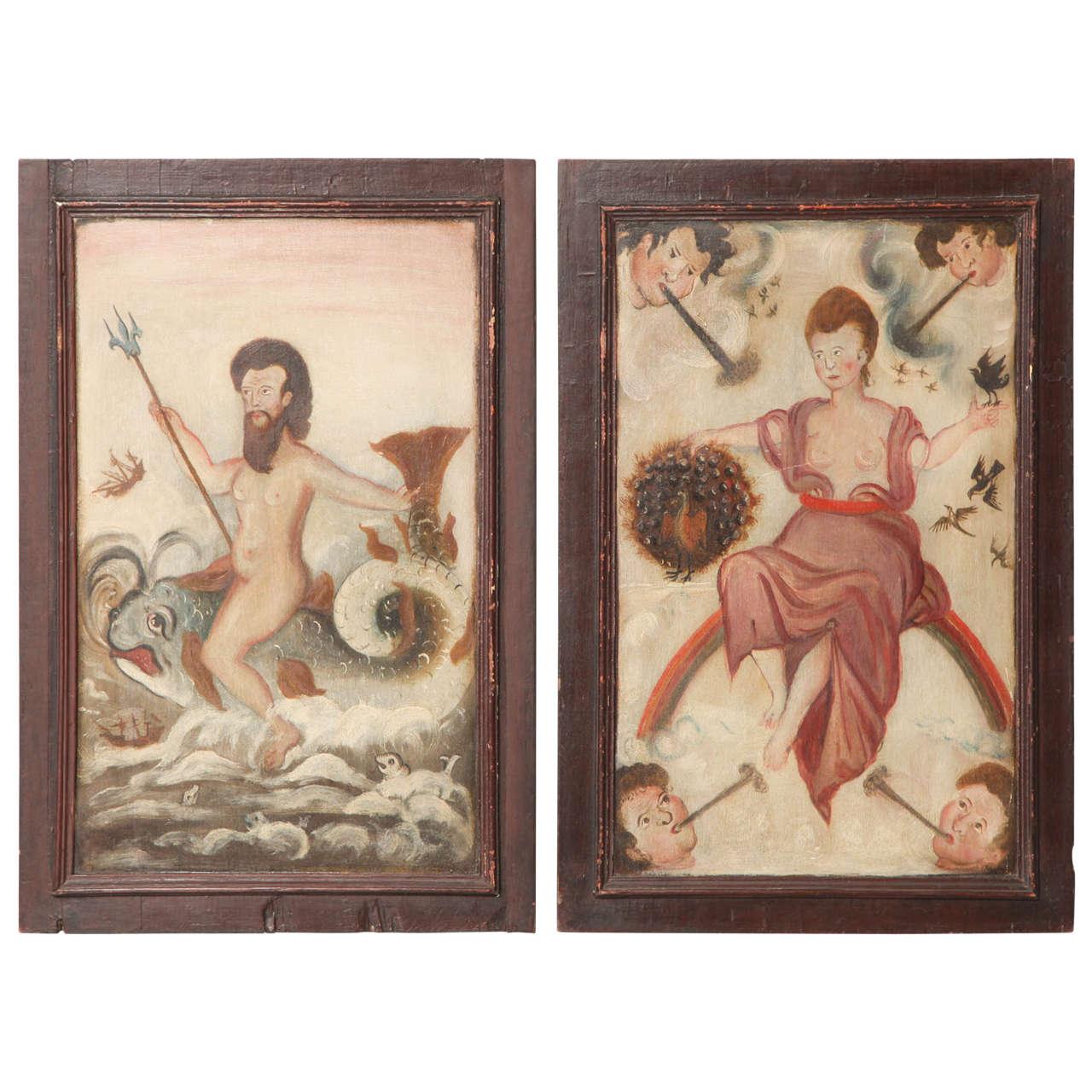 Pair of Folk Painted Panels of Poseidon and Hera