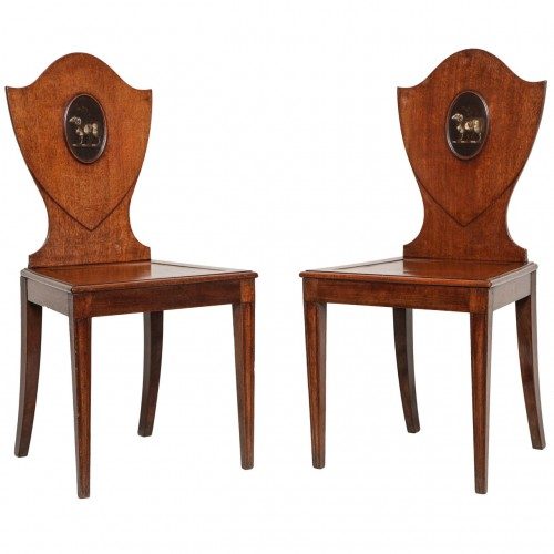 Pair of Georgian Mahogany Hall Chairs