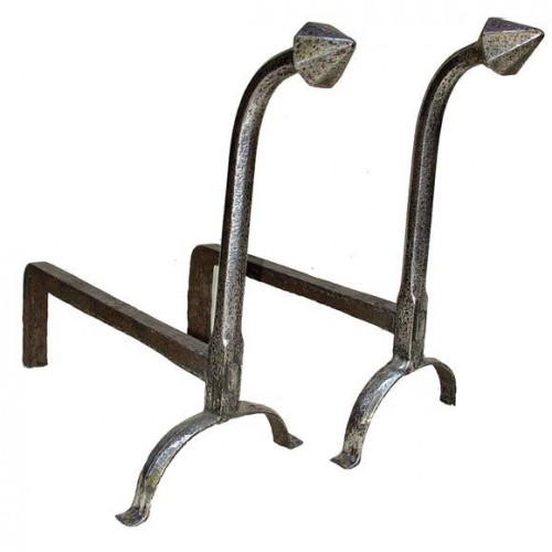 Pair of Late 18th/Early 19th c. English Polished Iron Andirons