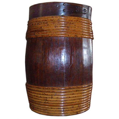 Swedish 19th c. Overscale Oak and Willow-Banded Barrel