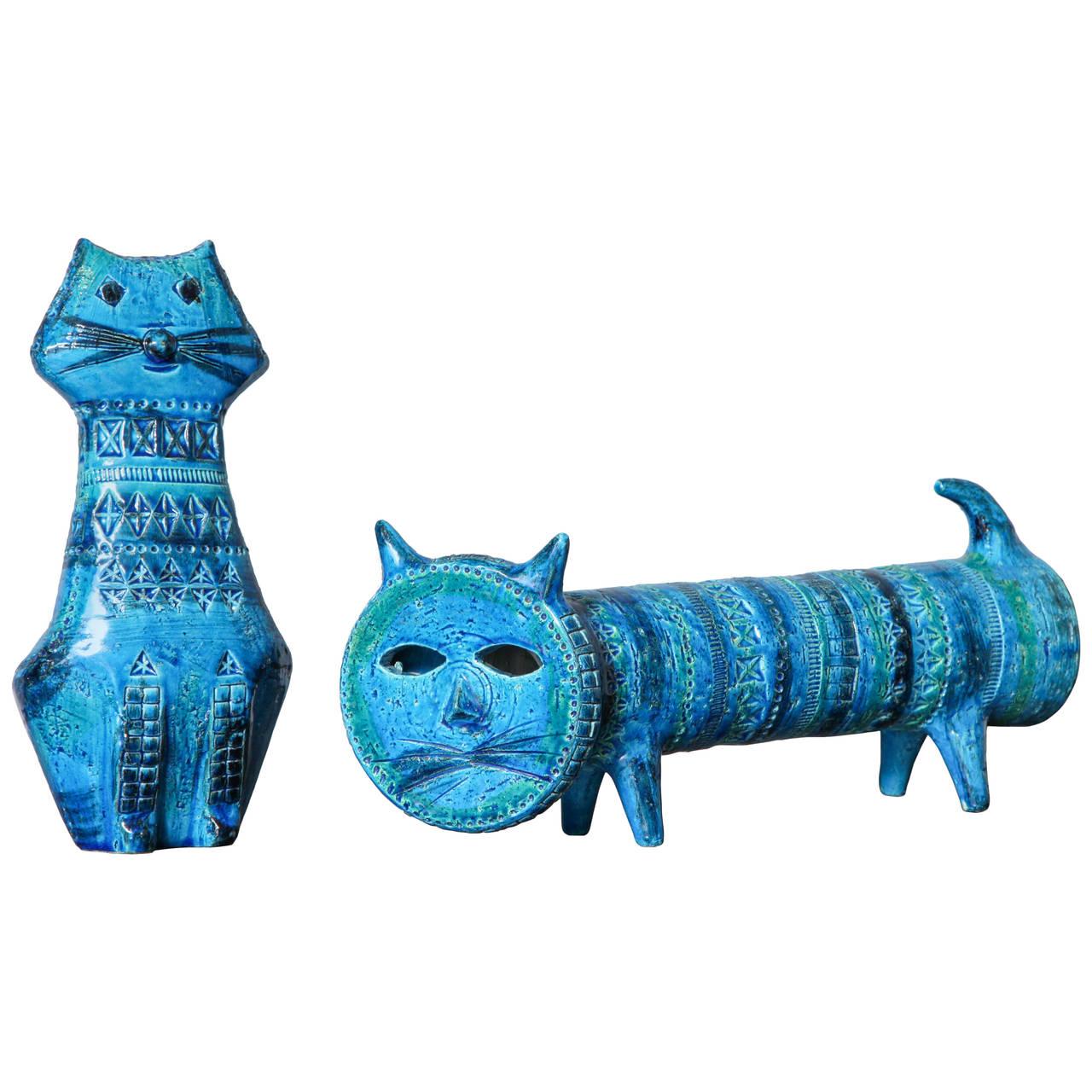 Two Blue-Glazed Bitossi Cats