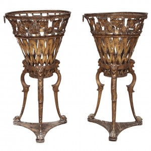 Unusual Pair of Early 19th Century Tole and Wood Jardinieres