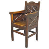 Very Unusual Archaic Georgian Wainscot Arm Chair.