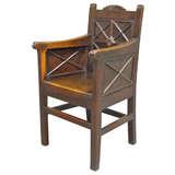 Very Unusual Archaic Georgian Wainscot Arm Chair.