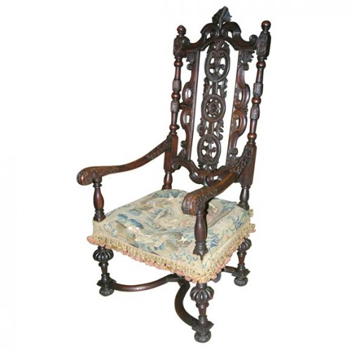 William and Mary Walnut Armchair
